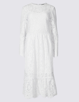 M&S Collection Cotton Blend Lace Detail Swing Midi Dress