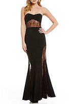 GB Social Strapless Lace Inset Gown