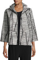 Caroline Rose Lines & Vines Zip Jacket, Black/White