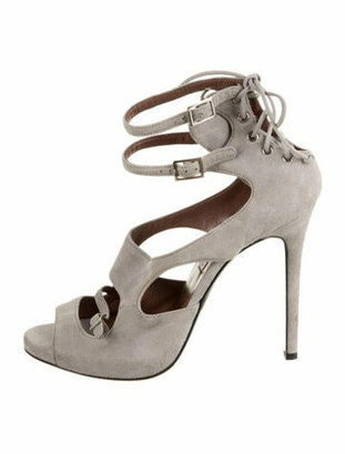 Tabitha Simmons Suede Ankle Strap Sandals grey