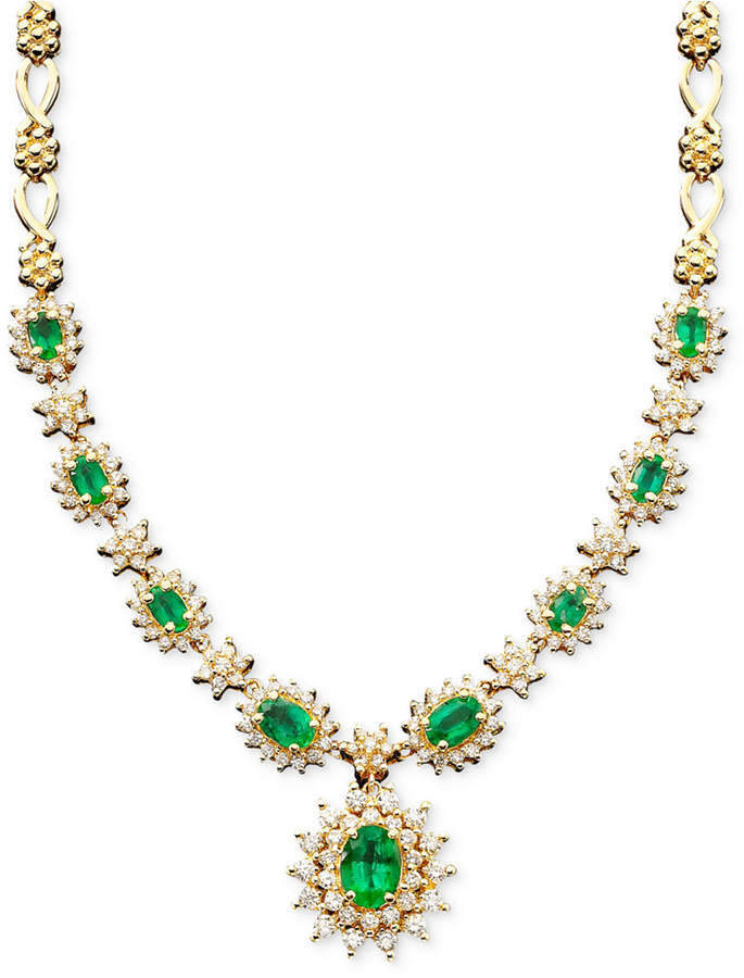 Effy Royalty Inspired by Emerald (3-3/8 ct. t.w.) and Diamond (1-2/3 ct. t.w.) Necklace in 14k White Gold, Created for Macy's