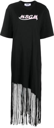 MSGM fringed long T-shirt dress