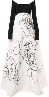 Carolina Herrera Floral Print Silk Dress
