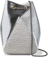 THE VOLON Mani Faux Shearling-paneled Metallic Textured-leather Bucket Bag