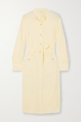 Vince Belted Crepe De Chine Shirt Dress - Yellow