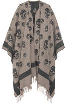 Alexander McQueen Reversible Intarsia Wool And Cashmere-blend Cape - Gray