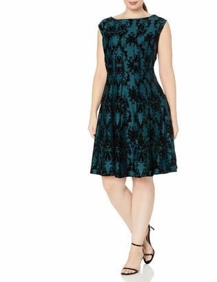 Gabby Skye Women's Plus Size Chandelier Print Velvet Scuba Fit and Flare Dress