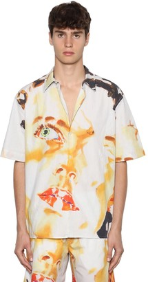 MSGM Printed Cotton Poplin Short Sleeve Shirt