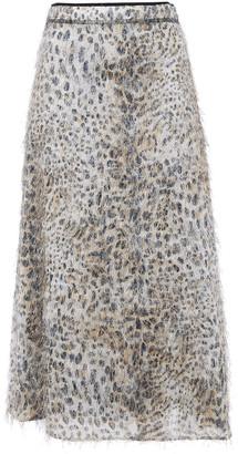McQ Leopard-print Fil Coupe Midi Skirt