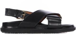 Marni Fussbett Smooth Leather Sandals - Black