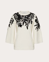 Valentino Embroidered Cashmere Wool Sweater Women Ivory/black Virgin Wool 70%, Cashmere 30% S