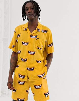 Obey Lips revere collar shirt in yellow