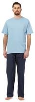 Maine New England Blue Pyjama T-shirt And Navy Square Print Bottoms Set