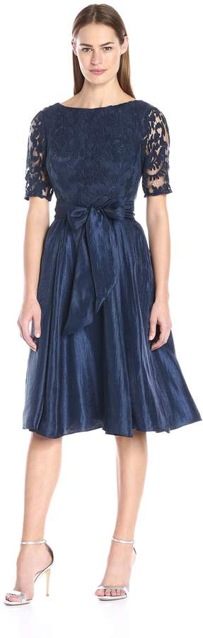 Adrianna Papell Women's Shimmer Side Panel Tuck Lace Bodice Dress