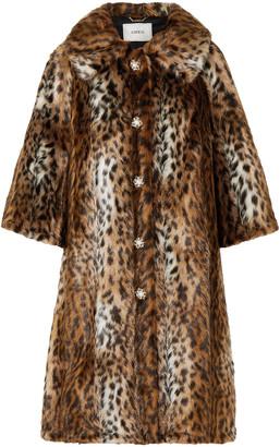 Erdem Sorayah Embellished Leopard-print Faux Fur Coat