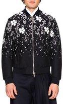 DSQUARED2 Embroidered Cherry Blossom Bomber Jacket, Black/White