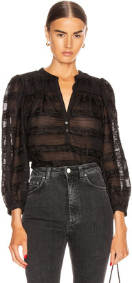 ICONS Objects of Devotion Modern Poet Top in Black Paneled Lace | FWRD