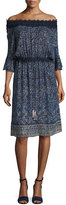 Elie Tahari Blaine Off-the-Shoulder Floral Silk-Blend Dress