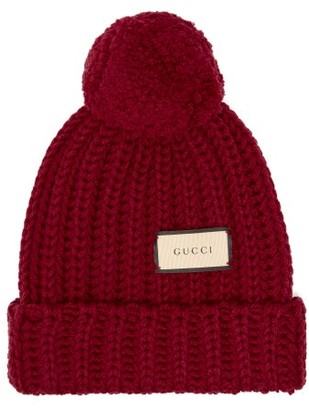 Gucci Logo-tag Wool Bobble Hat - Red