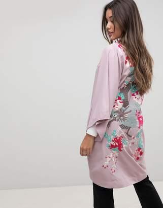 Dragon Optical Asos Design ASOS Premium Kimono Duster Jacket with Embroidery-Purple