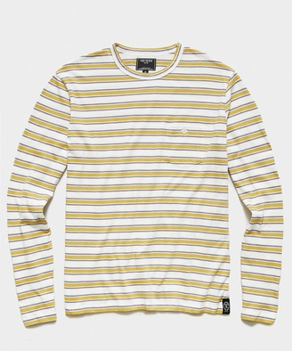 Todd Snyder Long Sleeve Stripe Pocket Tee in Gold