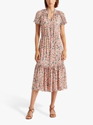 Ralph Lauren Ralph Vedarra Floral Print Cap Sleeve Dress, Pink/Multi