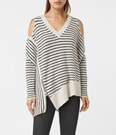 AllSaints Able Stripe Open Shoulder Sweater