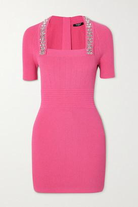 Balmain Crystal-embellished Ribbed Stretch-knit Mini Dress - Pink