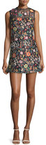 RED Valentino Sleeveless Jewel-Neck Floral Mini Dress, Black