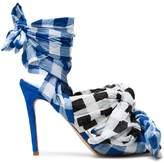 Natasha Zinko Gingham 125 wrap sandals