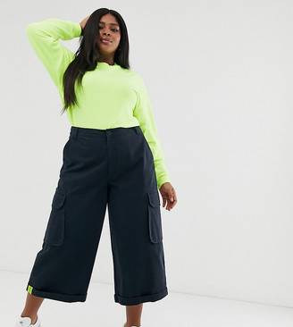 Asos DESIGN Curve utility culotte with neon tab detail-Green