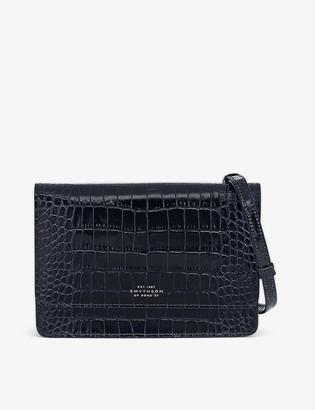 Smythson Panama crocodile-embossed leather purse