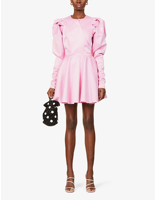 Rotate by Birger Christensen Pauline puffed-sleeve recycled polyester mini dress