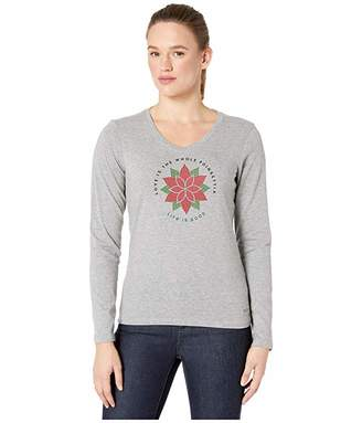 Life is Good Pointsettia Watercolor Long Sleeve Crushertm Vee