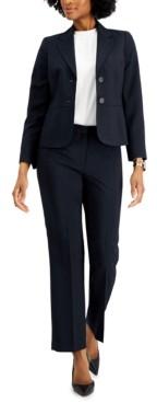 Le Suit Petite Notched-Lapel Pantsuit