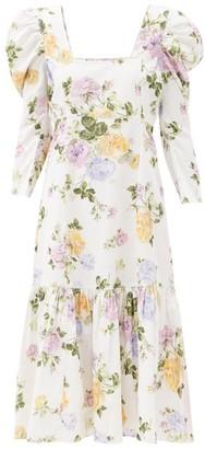 LoveShackFancy Ellington Floral-print Cotton-corduroy Dress - White Print