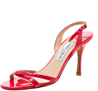 Jimmy Choo Neon Pink Patent Leather Jag Cross Strap Slingback Open Toe Sandals Size 38