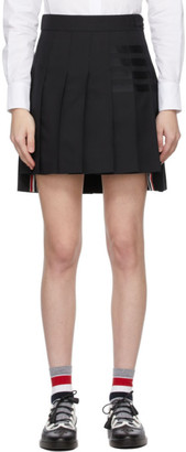 Thom Browne Black 4-Bar Dropped Back Pleated Miniskirt