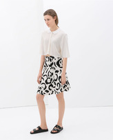 Zara Printed Skirt With Buckle