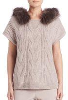 Peserico Fox Fur-Trim Hooded Sweater