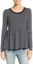 Hinge Women's Stripe Peplum Sweater