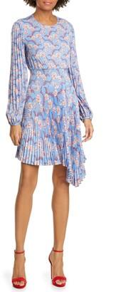A.L.C. Behati Pleated Long Sleeve Minidress