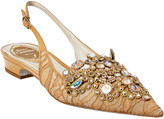 Rene Caovilla Veneziana Leather & Lace Flat