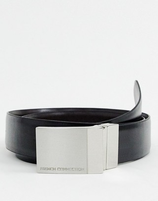 French Connection Reversible Leather Plaque Belt-Black