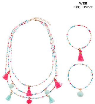 Monsoon Bright Tassel Pom Necklace & Bracelet Set