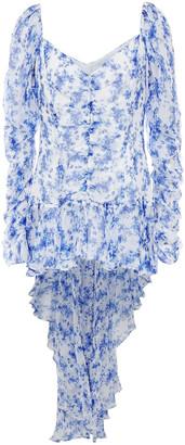 Caroline Constas Asymmetric Ruched Printed Silk-voile Top