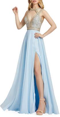 Mac Duggal Strappy Beaded Chiffon Gown