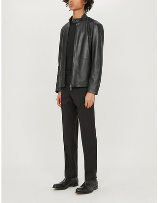 Emporio Armani Biker-collar leather jacket