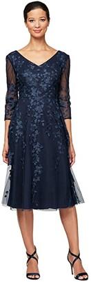 Alex Evenings Midi Length Embroidered Dress with Godet Detail Skirt (Navy) Women's Dress