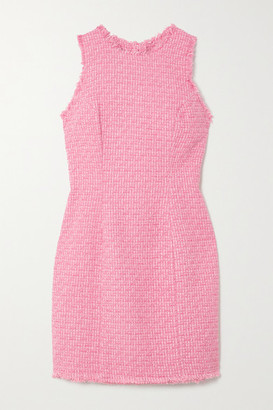 Balmain Frayed Cotton-blend Tweed Mini Dress - Pink